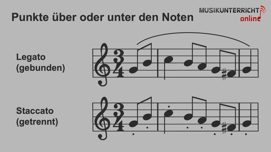 Einfach Notenlesen lernen: Sonderzeichen - Punkte über oder unter den Noten, Legato und Staccato