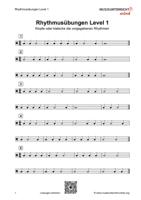 Dies ist das Vorschaubild für das Download-Arbeitsblatt Rhythmusübungen Level 1.