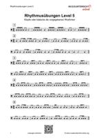 Dies ist das Vorschaubild für das Download-Arbeitsblatt Rhythmusübungen Level 5.