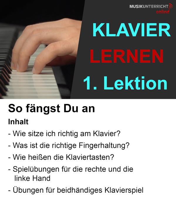 Klavier lernen in 8 Wochen? Klar geht das! In der 1. Lektion lernst Du die richtige Körper- und Fingerhaltung sowie das Spiel mit beiden Händen