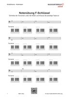 Download Vorschaubild: Übungsblätter zum Erlernen von Tonnamen und Klaviertasten im F-Schlüssel/ Basschlüssel
