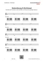 Download Vorschaubild: Übungsblätter zum Erlernen von Tonnamen und Klaviertasten im G-Schlüssel/ Violinschlüssel